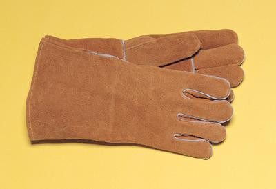 "Radnor Large Bourbon Brown 14"" Select Shoulder Split Cowhide Cotton Lined Welders Gloves With Reinforced, Straight Thumb"