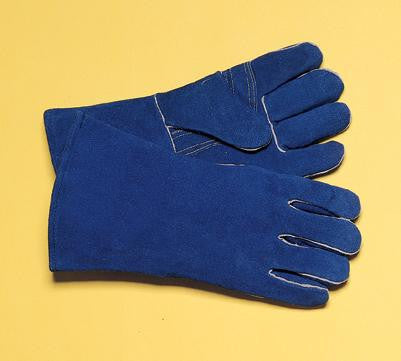 "Radnor Large Blue 14"" Premium Side Split Cowhide Cotton/Foam Lined Insulated Welders Gloves With Reinforced, Wing Thumb"