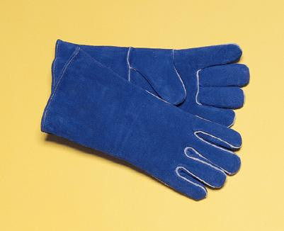 "Radnor Ladies Blue 12"" Shoulder Split Cowhide Cotton/Foam Lined Insulated Left Hand Welders Glove With Wing Thumb, Welted Fingers And Kevlar Stitching (Carded)"