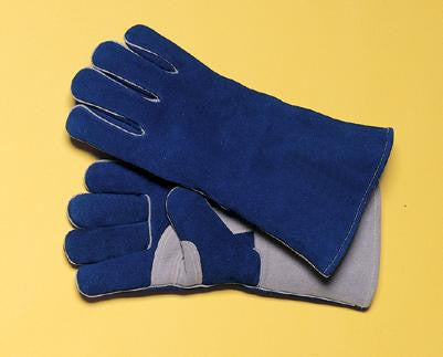 "Radnor Large Blue 14"" Premium Side Split Cowhide Cotton/Foam Lined Insulated Left Hand Welders Glove With Double Reinforced, Wing Thumb, Welted Fingers And Kevlar Stitching (Carded)"
