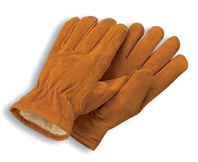 Radnor X-Large Brown Leather Pile Lined Cold Weather Gloves With Keystone Thumb, Slip On Cuffs, Color Coded Hem And Shirred Elastic Wrist