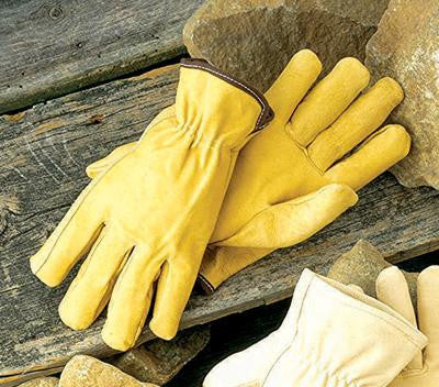 Radnor Large Grain Pigskin Unlined Gunn Cut Drivers Gloves With Straight Thumb, Slip-On Cuff, Color-Coded Hem And Shirred Elastic Back