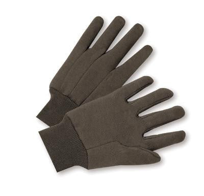 Radnor Men's Brown 9 Ounce 100% Cotton Jersey Gloves With Knitwrist