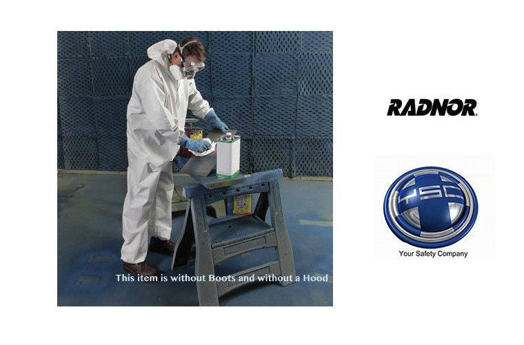 Radnor 4X White Pro-2 Microporous Film Laminated To Spunbond Polypropylene Disposable Coveralls With Front Zipper Closure