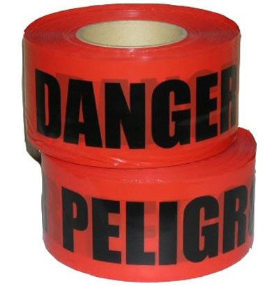 "Radnor 3"" X 1000' Red 2 Mil Bilingual Barricade Tape ""Danger Peligro"""