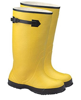 "Radnor Size 12 Yellow 17"" Rubber Over-The-Shoe Boots With Ribbed Outsole"