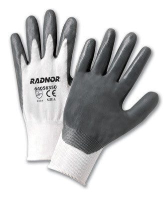 Radnor Large White Nitrile Coated Nylon Gloves With 13 Gauge Nylon Knit Liner And Knit Wrists