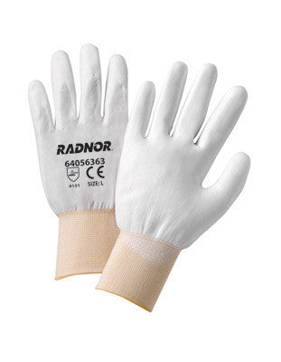 Radnor Large White Economy Polyurethane Palm Coated Gloves With Seamless 13 Gauge Nylon Knit Liner