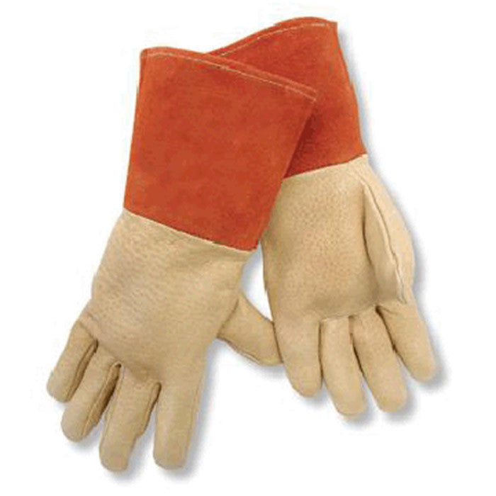 "Radnor Large Premium Grain Pigskin MIG/TIG Welders Glove With 4 1/2"" Gauntlet Cuff"