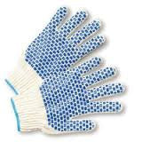 Radnor Ladies Natural Heavy Weight Polyester/Cotton Ambidextrous String Gloves With Knit Wrist And Double Side PVC Block Coating