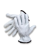 Radnor X-Large Grain Goatskin Unlined Drivers Gloves With Straight Thumb, Slip-On Cuff, Color-Coded Hem And Shirred Elastic Back