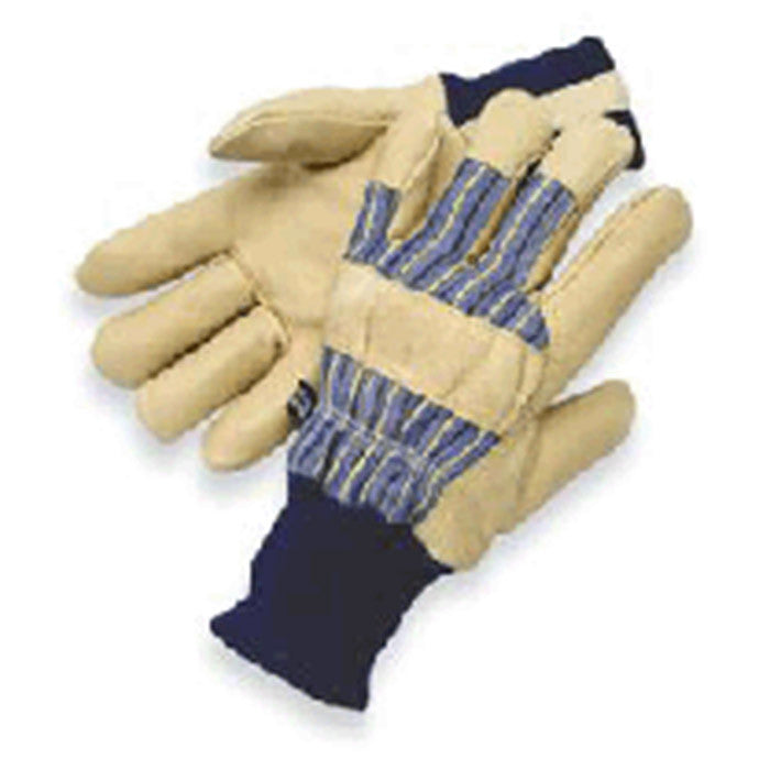 Radnor Large Tan Pigskin Thinsulate Lined Cold Weather Gloves With Knit Wrist And Knuckle Strap