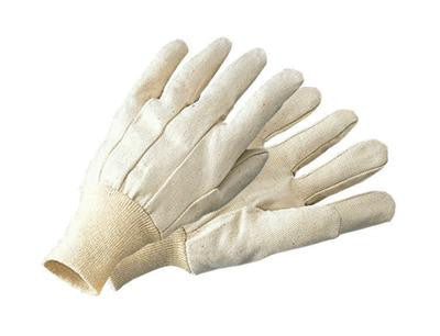 Radnor Men's White 10 Ounce 100% Cotton Canvas Gloves With Knitwrist
