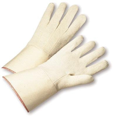 Radnor Men's White 12 Ounce 100% Cotton Canvas Gloves With Gauntlet Cuff