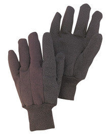 Radnor Large Brown 10 Ounce Cotton/Polyester Blend Jersey Gloves With Knitwrist And PVC Dotted Palm, Thumb And Index Finger
