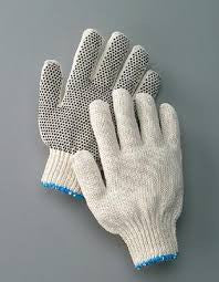 Radnor Large Natural Medium Weight Polyester/Cotton String Gloves With Knit Wrist And Single Side Black PVC Dot Coating