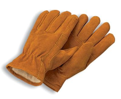Radnor Large Brown Leather Thinsulate Lined Cold Weather Gloves With Keystone Thumb, Slip On Cuffs, Color Coded Hem And Shirred Elastic Wrist