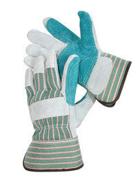 Radnor Medium Shoulder Grade Split Leather Palm Gloves With Safety Cuff, Double Leather On Palm, Index Finger And Thumb