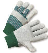 Radnor Large Standard Split Cowhide Leather Palm Gloves With Knit Wrist, Striped Canvas Back And Reinforced Knucke Strap