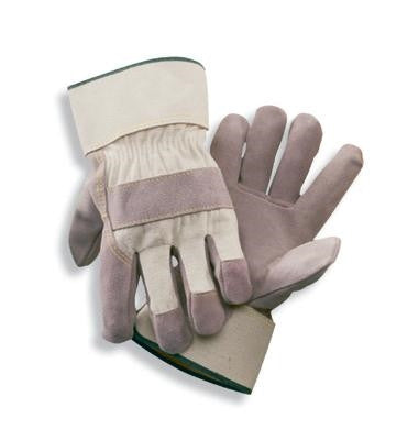 Radnor 2X Side Split Leather Palm Gloves With Safety Cuff, Duck Canvas Back And Reinforced Knuckle Strap, Pull Tab, Index Finger And Fingertips