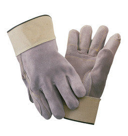 Radnor Large Side Split Leather Palm Gloves With Safety Cuff, Full Leather Back And Wing Thumb
