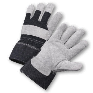 Radnor Large Economy Grade Split Leather Palm Gloves With Safety Cuff, Denim Back And Reinforced Knuckle Strap, Pull Tab, Index Finger And Fingertips