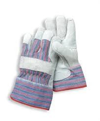 Radnor Ladies Economy Grade Split Leather Palm Gloves With Safety Cuff, Striped Canvas Back And Reinforced Knuckle Strap, Pull Tab, Index Finger And Fingertips