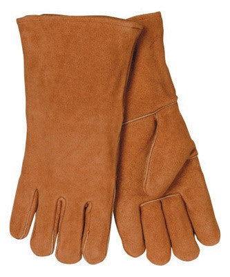 "Radnor Large Brown 14"" Shoulder Split Cowhide Cotton Sock Lined Welders Gloves With Wing Thumb"