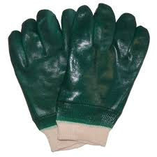Radnor Large Green Sandpaper Grip PVC Glove With Jersey Lining And Knitwrist