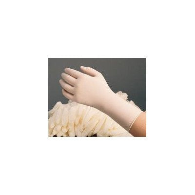 "Radnor Large 12"" White 11 mil  Latex Powder-Free Disposable Gloves With Textured Finish And Rolled And Extended Cuffs (50 Gloves Per Dispenser Box)"