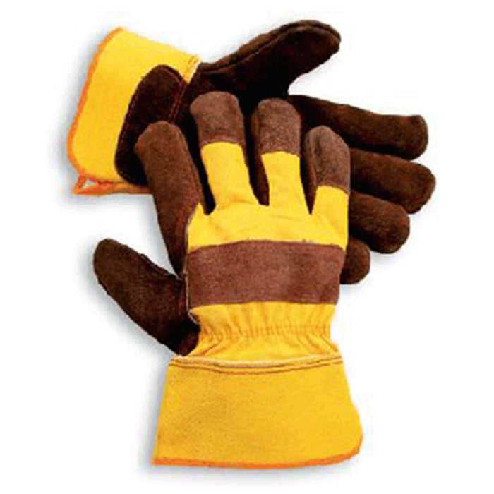 Radnor Large Premium Select Shoulder Grade Split Leather Palm Gloves With Yellow Rubberized Safety Cuff, Heavy Yellow Canvas Back And Reinforced Index And Middle Finger