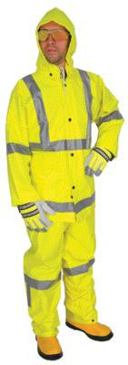 River City Garments Large Fluorescent Lime Luminator .38 mm Polyester And PVC Flame Resistant 3 Piece Rain Suit With Silver Reflective Stripes (Includes Jacket With Front Snap Closure, Detached Hood And Snap Fly Bib Pants)