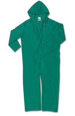 River City Garments 2X Green Dominator .42 mm Polyester And PVC Flame Resistant Rain Coveralls With Front Zipper Closure And Attached Hood