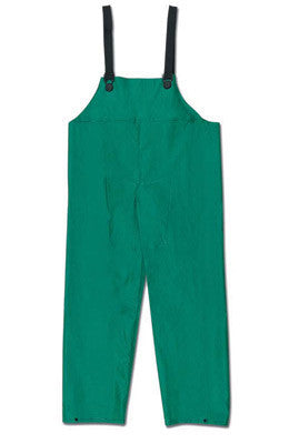 River City Garments Large Green Dominator .42 mm Polyester And PVC Flame Resistant Rain Bib Pants With No Fly