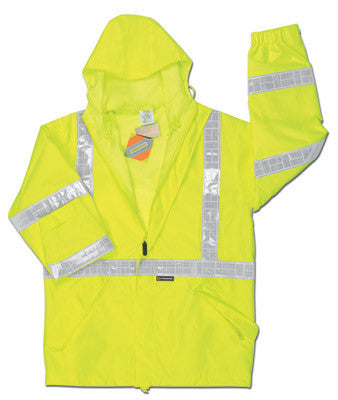 River City Garments 2X Fluorescent Lime Luminator Pro Polyester And Polyurethane Rain Jacket With Front Zipper Closure, Attached Hood And Reflective Stripes