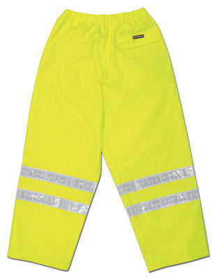 River City Garments Large Fluorescent Lime Luminator Pro Polyester And Polyurethane Rain Pants With Drawstring Closure And Reflective Stripes