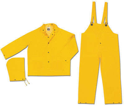 River City Garments Large Yellow Classic .35 mm Polyester And PVC Flame Resistant 3 Piece Rain Suit (Includes Jacket With Front Snap Closure, Detached Hood And Snap Fly Bib Pants)