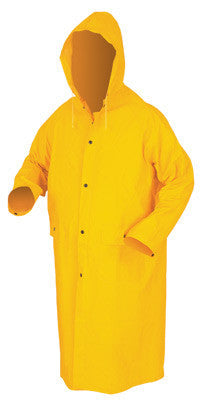 "River City Garments 2X 49"" Yellow Classic .35 mm Polyester And PVC Rain Coat With Front Snap Closure And Detachable Hood"