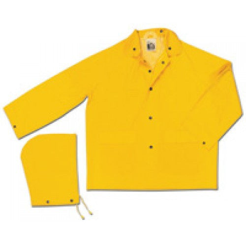 River City Garments Medium Yellow Classic .35 mm Polyester And PVC Rain Jacket With Front Snap Closure And Detachable Hood