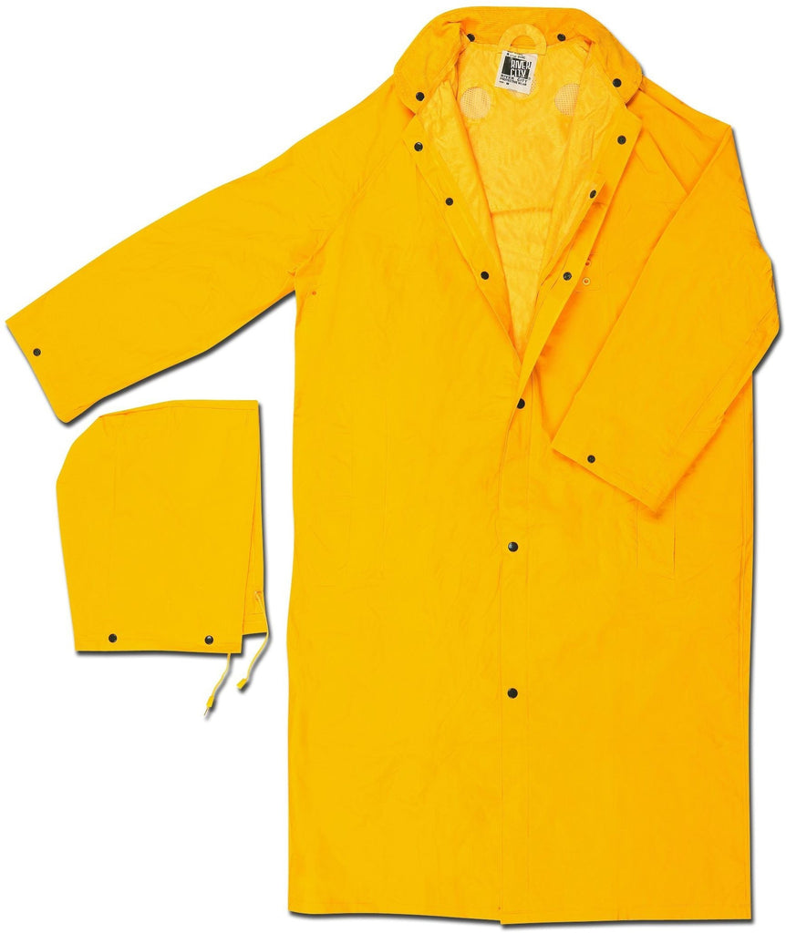 "River City Garments 3X 49"" Yellow Classic Plus .35 mm Polyester And PVC Rain Coat With Front Snap Closure, Detachable Hood  And Corduroy Collar"