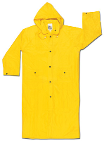 "River City Garments 3X 49"" Yellow Wizard .28 mm Nylon And PVC Flame Resistant Rain Coat With Front Snap Closure And Detachable Hood"