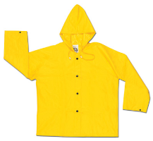 River City Garments Medium Yellow Wizard .28 mm Nylon And PVC Flame Resistant Rain Jacket With Front Snap Closure And Attached Hood