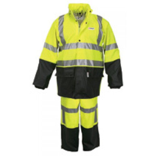 River City Garments Large Fluorescent Lime And Black Luminator .40 mm Polyurethane And Cotton Class 3 Flame Retardant 2 Piece Rain Suit With 3M Reflective Stripes (Includes Jacket With Front Zipper Closure, Attached Hood And Pants)