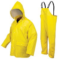 River City Garments 4X Hi-Viz Yellow Navigator .40 mm Polyurethane And Polyester 2 Piece Rain Suit With Silver Reflective Stripes (Includes Jacket With Front Snap Closure, Attached Hood And Snap Fly Bib Pants)