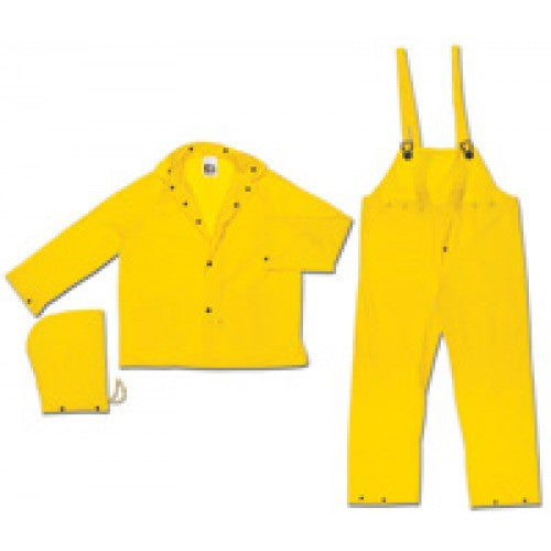 River City Garments 4X Yellow Squall .20 mm PVC Disposable 3 Piece Rain Suit (Includes Jacket With Front Snap Closure, Detached Hood And Snap Fly Bib Pants)