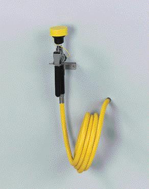 Bradley Wall Mounted Hand Held Spray Hose With Yellow Thermoplastic Hose
