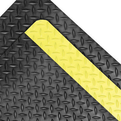 "Superior Manufacturing Notrax Saddle Trax Grande 4' X 75' Black 1"" Thick Dry Area Anti-Fatigue Floor Mat With Yellow Border"
