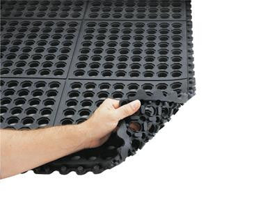 "Superior Manufacturing Notrax 3' X 3' Black 3/4"" Thick Cushion-Ease Wet/Dry Area Anti-Fatigue Floor Mat"