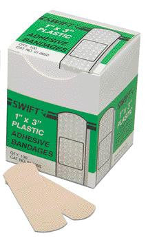 "Swift First Aid 1"" X 3"" Plastic Strip Adhesive Bandage (100 Per Box)"