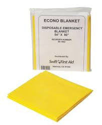 "Swift First Aid 54"" X 80"" Yellow Disposable Emergency Blanket (40 Per Case)"